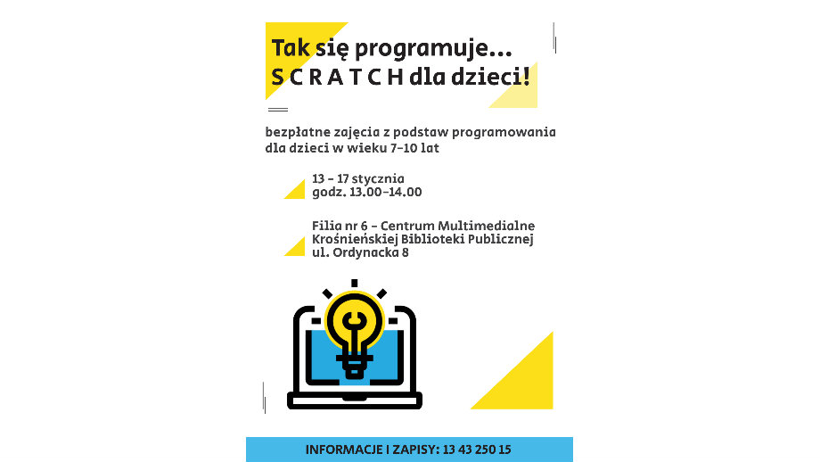 Scratch dla dzieci! Bezpłatne zajęcia z programowania w Krośnieńskiej Bibliotece Publicznej