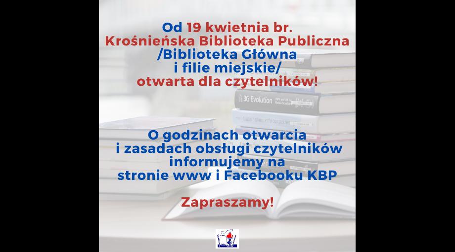 Nowe godziny otwarcia Krośnieńskiej Biblioteki Publicznej!